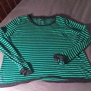 H&M Basic Pullover Green/Black Striped Sweater